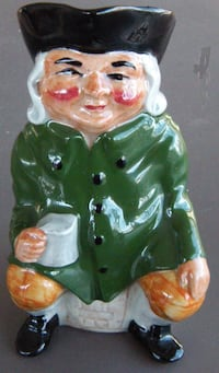 """ARTONE STAFFORDSHIRE 5 ¼"""" HAND-PAINTED CHARACTER TOBY JUG WITH ROSY CHEEKS, LIGHT CASK AND GREEN MAKER'S MARK Chelmsford, 01824"""