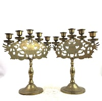 Vintage Brass 5 Arm Dragon and Etched Flower Candelarias (2) Sterling, 20165