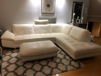 White leather sectional sofa with ottoman Longueuil, J4J 5K1