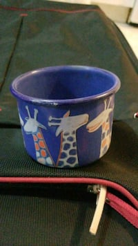 blue and white ceramic mug Vancouver, V5X