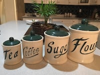 4 white and green ceramic canisters Surrey, V3S 8E2