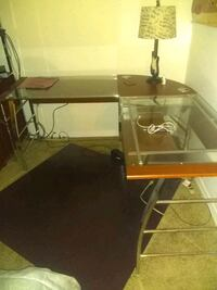brown wooden framed glass-top table Westchase, 33626