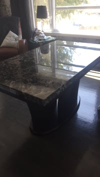 brown wooden base marble top pedestal table Repentigny, J5Y 1Z7