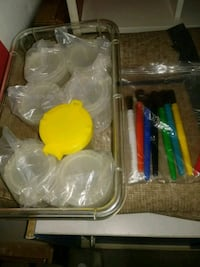 Paint cups and paint brushes for children