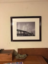 grayscale photo of bridge with black wooden frame Charleston, 29403