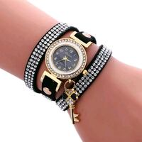round gold-colored analog watch with link bracelet Bronx, 10469