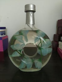 clear and blue glass floral lighted bottle decor Albuquerque, 87102