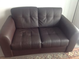 2 brown love seat