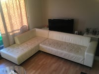 White leather sectional sofa with ottoman Vaughan, L0J