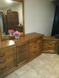 brown wooden dresser with mirror and night stand San Antonio, 78217