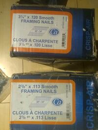 two blue and white labeled boxes