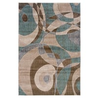 New Milan Collection Brown and Turquoise 5 ft. x 8 ft. Indoor Area Rug Ajax