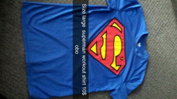 blue and red Superman crew-neck shirt