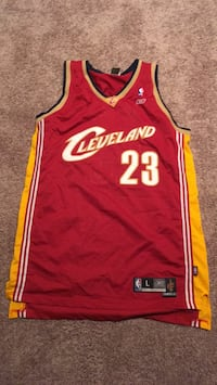 red and white Cleveland Cavaliers Lebron James jersey Houston, 77027