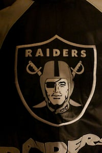 black and white Oakland Raiders banner Oakland, 94606