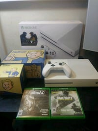 white Xbox One with controller and game cases Edmonton, T6H 5G1