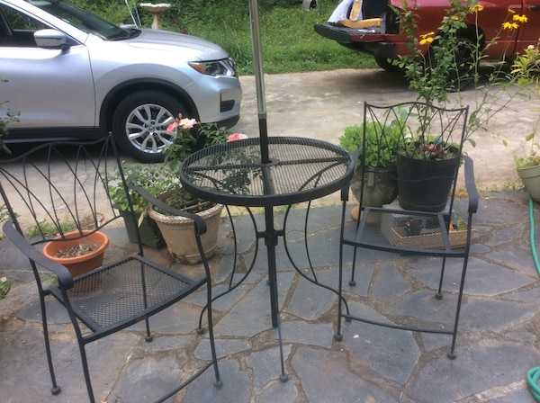 Used Round Black Metal Table With Two Chairs Patio Set For In Atlanta
