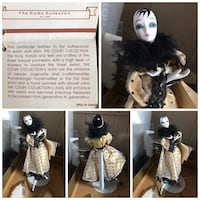 Vintage Colby Collection Bisque Porcelain Harlequin China Doll w/Stand Overland, 63114