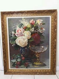 white and red flower painting with brown wooden fr Miami, 33145