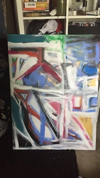 red, white, and blue abstract painting Los Gatos, 95030