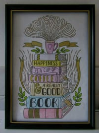 A4 HAPPINESS QUOTE PENCIL COLOUR WALL ART IN FRAME London