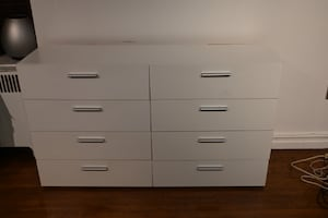 White Pannell 8 Drawer Double Dresser