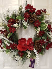 """Natural and traditional 24"""" Christmas wreath"""