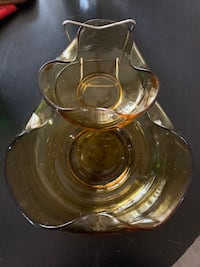 Vintage colored glass chip and dip bowl set