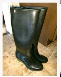 pair of black leather knee-high boots Brampton, L6X 0B4