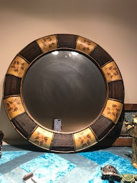 round black and brown wooden framed mirror Coquitlam, V3B