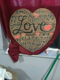 Heart shape wooden decoration or picture for wall 380 mi