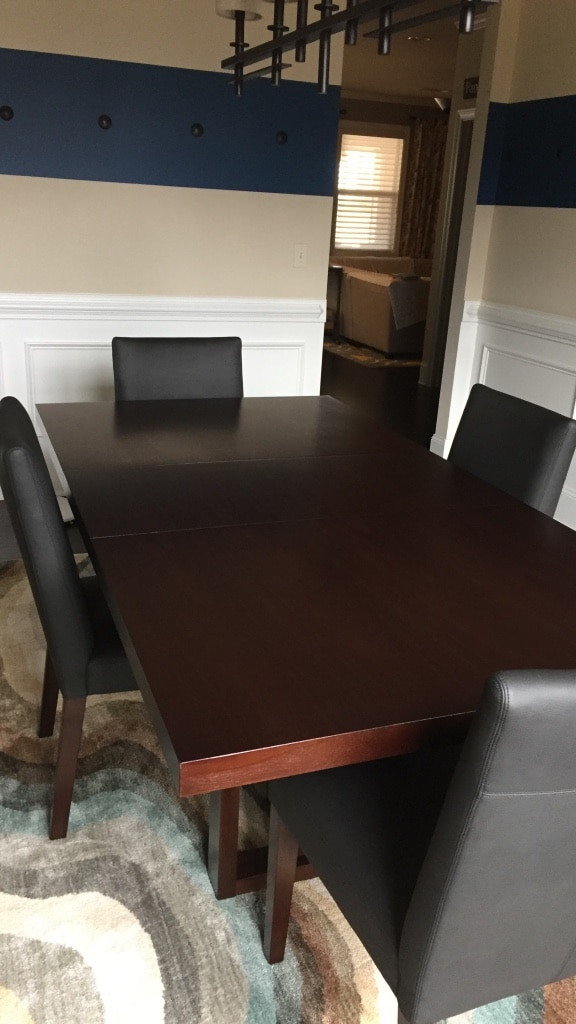 Macyu0027s Wooden Dining Table With 4 Leather Chairs. Lightly Used, No  Scratches. Dining