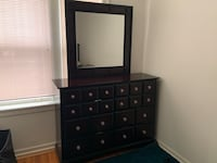 Winchester Dresser and Mirror - Black and Burnished Merlot Chicago, 60626