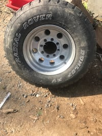 Gray bullet hole auto wheel with tire Clyde, 28721