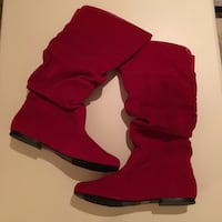 NEW. SIZE: 10. Red suede low knee boots 34 mi