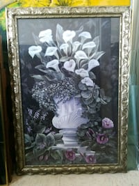 white and purple flower painting