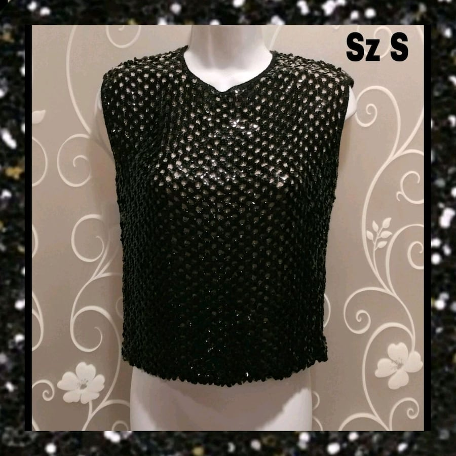 VINTAGE WOMENS BLACK SEQUIN SLEEVELESS FORMAL TOP SIZE S