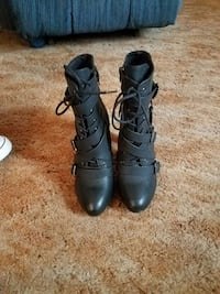 black leather lace up heeled boots Tresckow, 18254