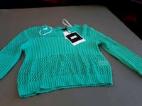 teal and white knitted sweater Delson, J5B 1G3