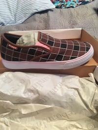 Women's Brown and white slip-on shoe with box