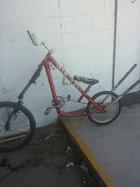 red and black chopper bicycle