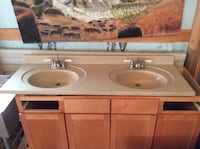 Double sink solid surface vanity top 61x22