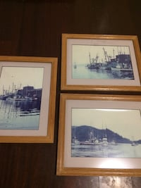 Three wooden framed classic pictures of boats. Beaverton, 97007
