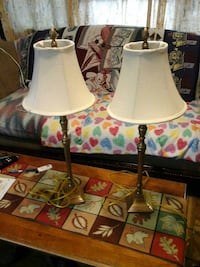 two brass table lamp base and white lamp shades Chelmsford, 01824