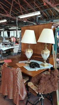 two gray-and-brown wooden base table lamps with white pleated lampshades 375 mi