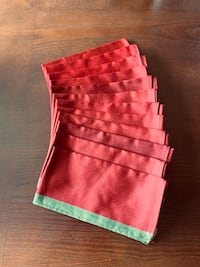 12 New Red Fabric Dinner Napkins