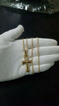 "10K Gold Ankh + 10K Gold Rope Chain 2.5mm 22"" Mississauga, L4Y 4G4"