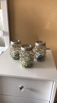 mason jar- hand macramed jars with votive candles and sea glass inside Bradley Beach, 07720