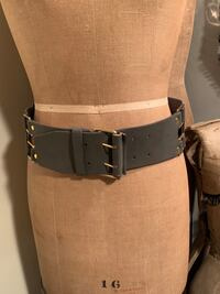 Dark grey leather & elastic belt with gold tone buckle