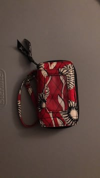 Black, red, and white floral wallet Bartlett